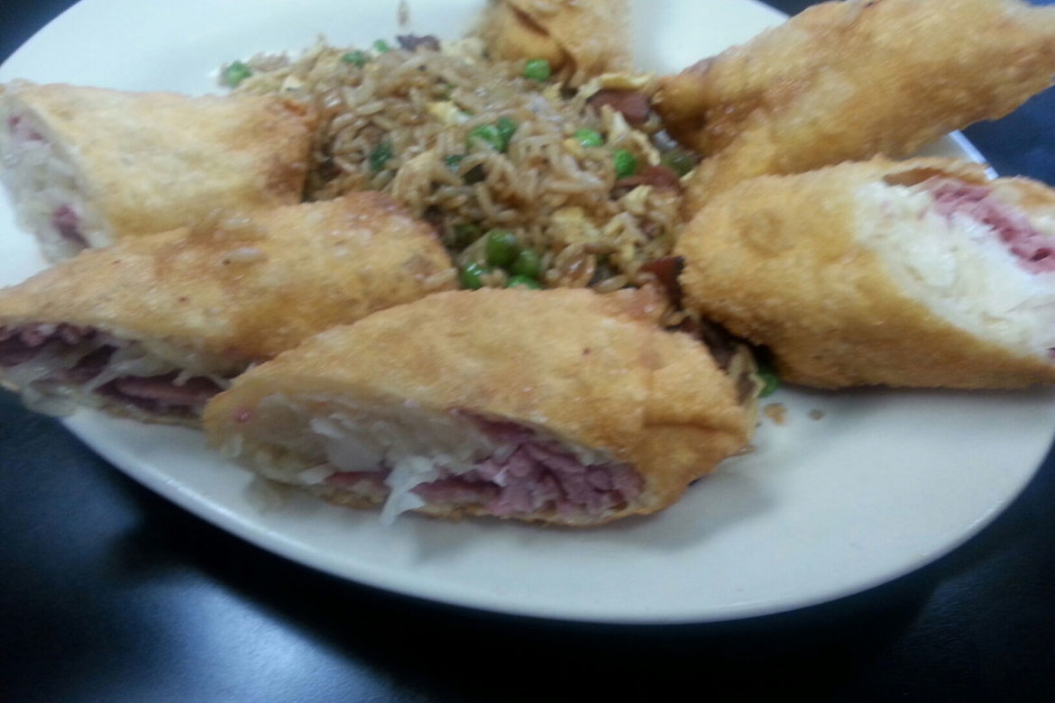 Reuben Egg roll with pastrami fried rice