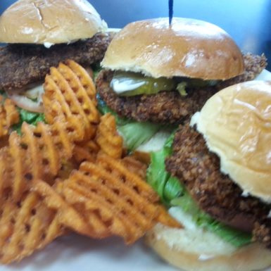 hand-breaded fried chicken sliders w sweet potato fries